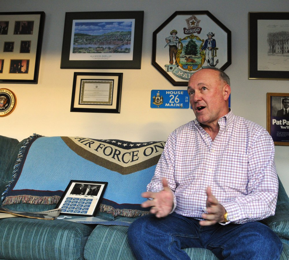 Augusta City Councilor Patrick Paradis talks about the late John Glenn on Friday. They met in 1983, when Glenn was running for president.