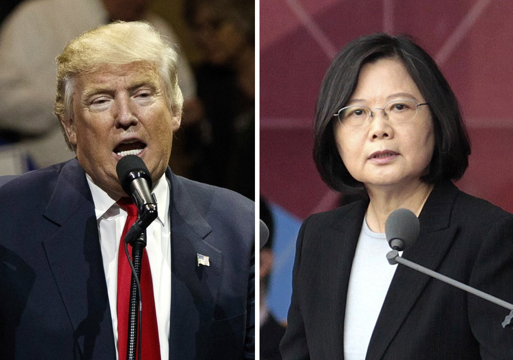 """U.S. President-elect Donald Trump, left, and Taiwan's President Tsai Ing-wen. An official Chinese newspaper called Donald Trump """"as ignorant as a child"""" on Monday after the president-elect again suggested that he was reconsidering how America deals with Taiwan, one of the most sensitive issues in the relationship between the U.S. and China."""