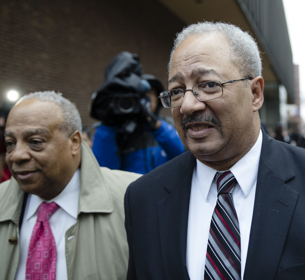 Former Rep. Chaka Fattah, D-Pa., walks from the courthouse after he was sentenced in Philadelphia. Fattah misspent government grants and charity money to fund his campaign and personal expenses.
