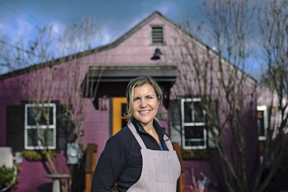 Krista Kern Desjarlais outside The Purple House in North Yarmouth. Opening a restaurant or bakery or cafe is not for the faint of heart, she writes.