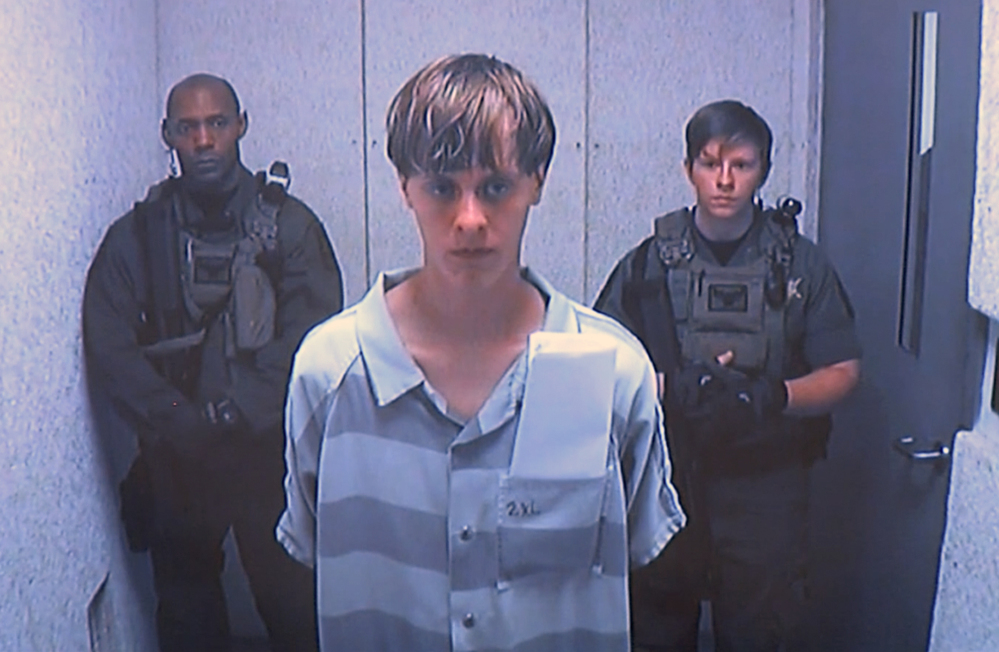 Dylann Roof, shown via video in 2015, was convicted Thursday of killing nine people inside a black church in Charleston , S.C.