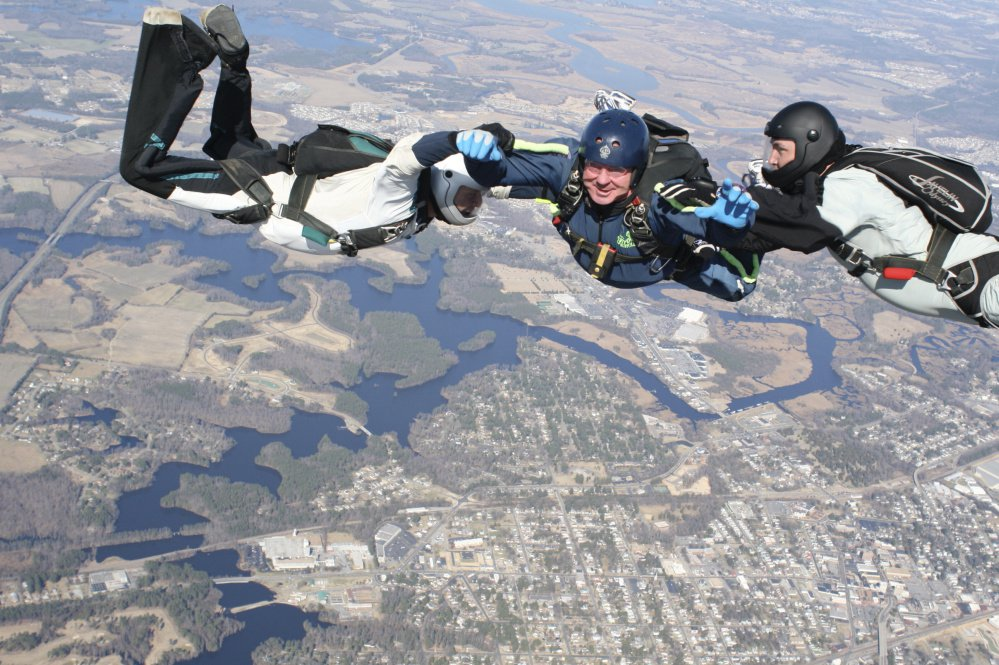 Chris Connors adds to his list of life's adventures on a sky-diving outing. He also trained with Navy SEALs, went big-game hunting in Russia and walked into a lion's cage in Africa, said his daughter, Caitlin Connors.