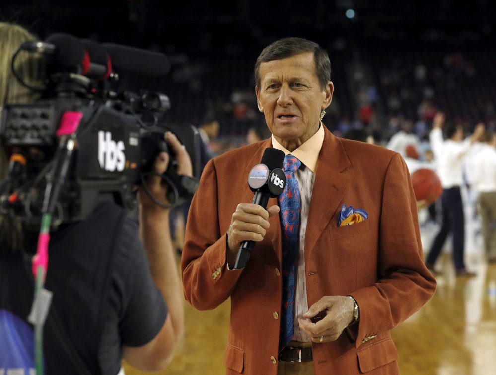 Craig Sager speaks before the NCAA championship game April 4 between Villanova and North Carolina. Sager, the longtime sideline reporter famous for his flashy suits, has died after a batter with cancer, Turner Sports announced Thursday