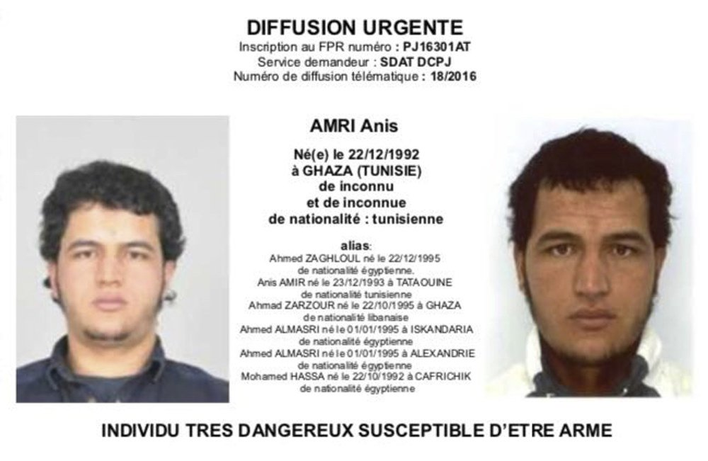 Photo sent to European authorities and obtained by the AP on Wednesday shows Tunisian national Anis Amri, who is wanted by German police for alleged involvement in the Berlin Christmas market attack. Twelve people died when a truck ran into the crowded market Monday.