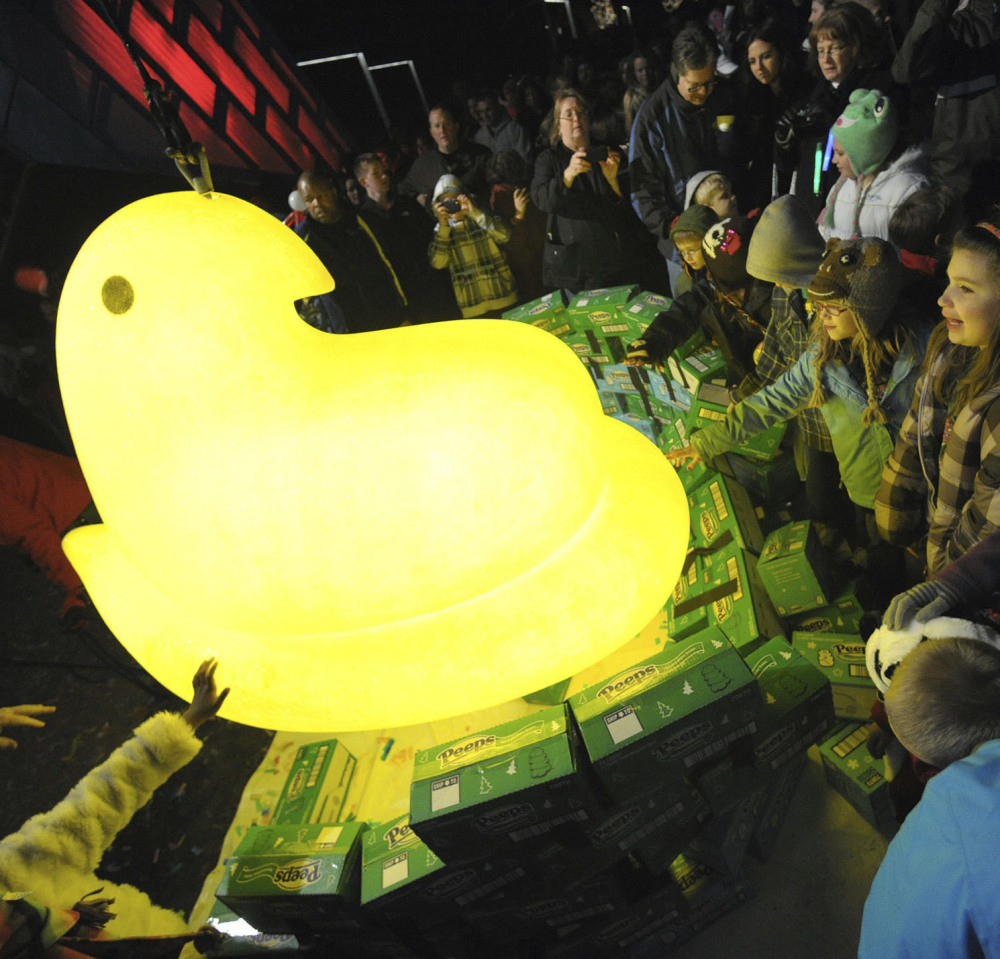 Children gather around a large Peep dropped on New Year's Eve in Bethlehem, Pa., in 2011.
