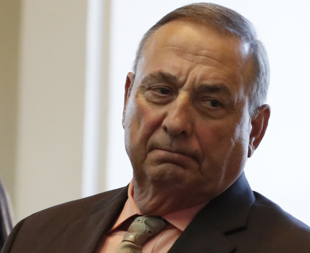 """Gov. Paul LePage says money is so tight that he can't afford to hire a replacement for the top attorney on his staff, who has resigned. 'I have no capital,"""" LePage said."""