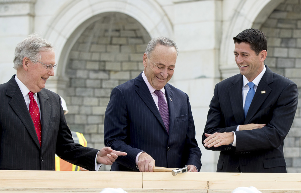 House Speaker Paul Ryan of Wis., right, and Senate Majority Leader Mitch McConnell of Ky., left, want a major overhaul of the tax system but will need the help of Senate Minority Leader Charles Schumer, D-N.Y., to move legislation through the Senate.
