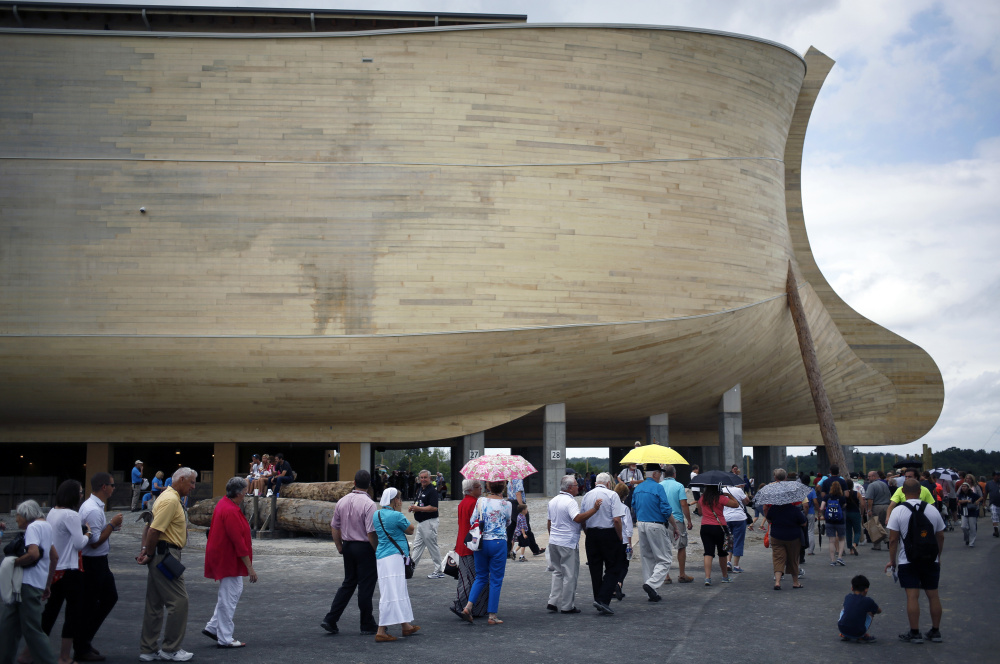 The Ark Encounter theme park in Williamstown, Ky., features a wooden reproduction of Noah's boat to the dimensions described in the Old Testament.