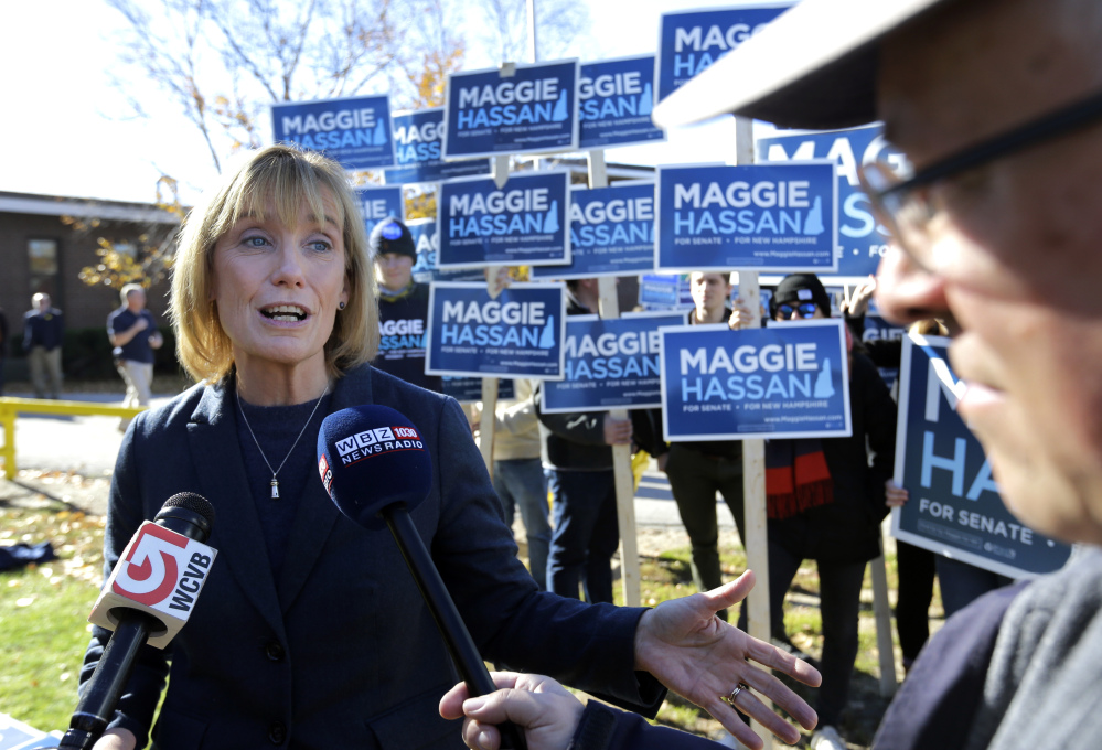 New Hampshire Democratic Gov. Maggie Hassan speaks outside a polling place in Portsmouth, N.H. on election day. Hassan is one of seven newly elected Senators.