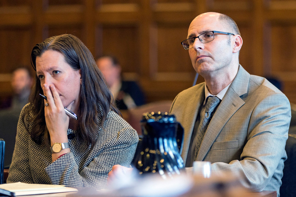 Gregory Nisbet and his attorney Sarah Churcill listen Thursday as Superior Court Justice Thomas Warren gives Nisbet a 90-day jail sentence and a $1,000 fine. Ben McCanna/Staff Photographer