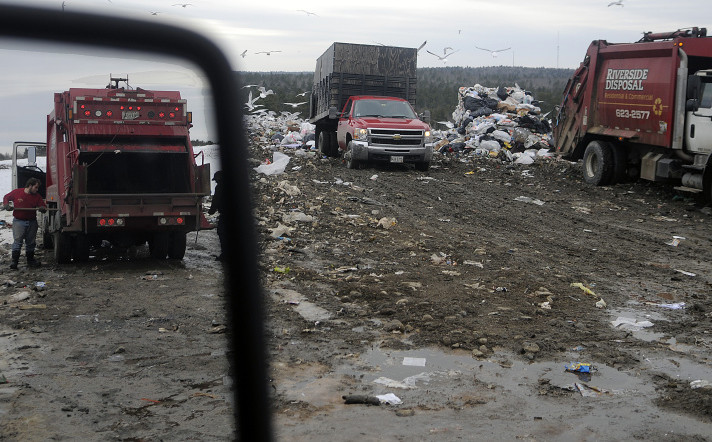 Dump trucks unload in January at Hatch Hill Solid Waste Disposal Facility in Augusta, one of the area places were Pittston could opt to take its trash in the new year.