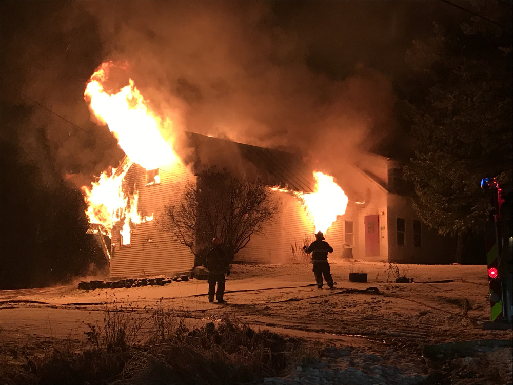 A home at 212 Mile Square in Phillips, shown burning in a photo provided by the Franklin County Sheriff's Office, was destroyed by fire Wednesday night.