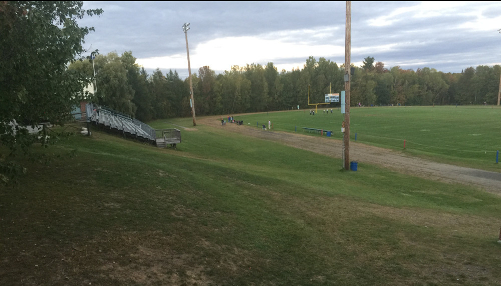 "Messalonskee High School's current outdoor track, called the ""dirt oval."""