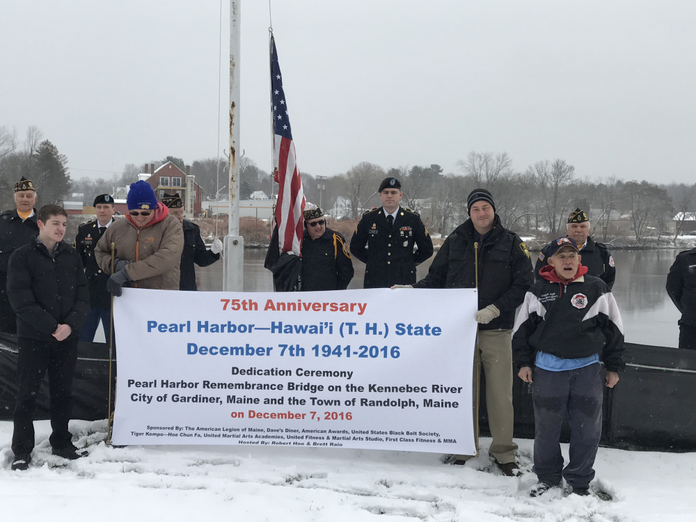 Native Hawaiian and longtime Mainer Robert Hoe, far right, organized a ceremony Wednesday in Gardiner to mark the 75th anniversary of the Japanese attack on Pearl Harbor.