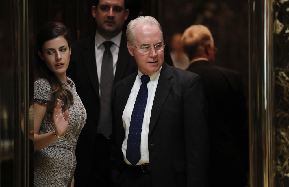 Rep. Tom Price, R-Ga., stands in an elevator as he arrives at Trump Tower, last month in New York. Price is the president elect's choice to head the Department of Health and Human Services and back a rapid and traumatic repeal of the Affordable Care Act, putting millions of Americans