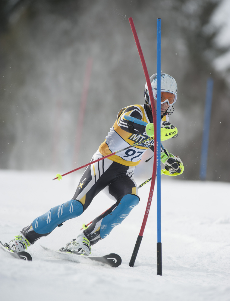 Maranacook's Nathan Delmar competes in the boys slalom at the Kennebec Valley Athletic Conference championships last season at Titcomb Mountain in Farmington.