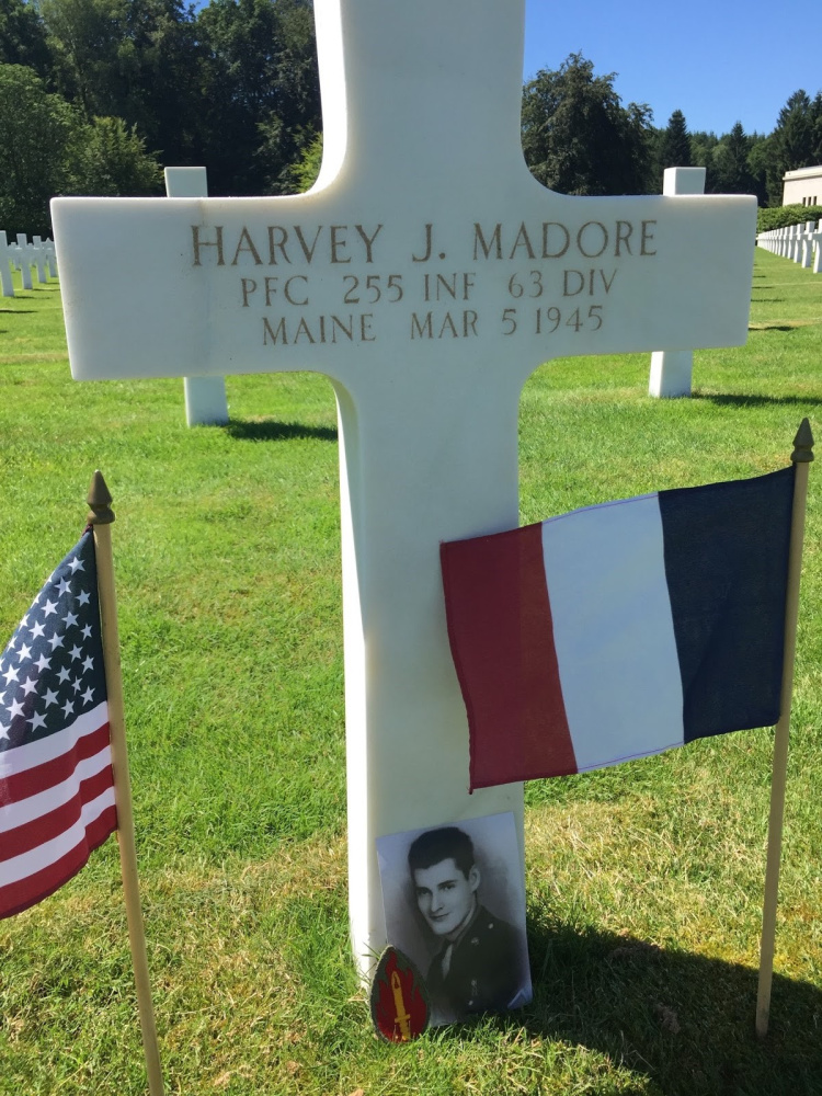 The gravesite of Pfc. Harvey Madore, who is buried at Epinal American Cemetery in Dinoze, France.