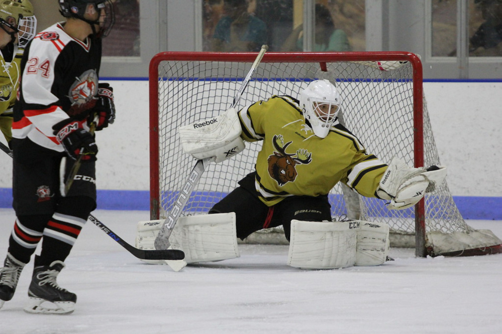 Esa Maki, a senior at Kents Hill, is a goalie for the Maine Moose 18U hockey team. Maki and the Moose are headed to the nationals in April in Lansing, Michigan.