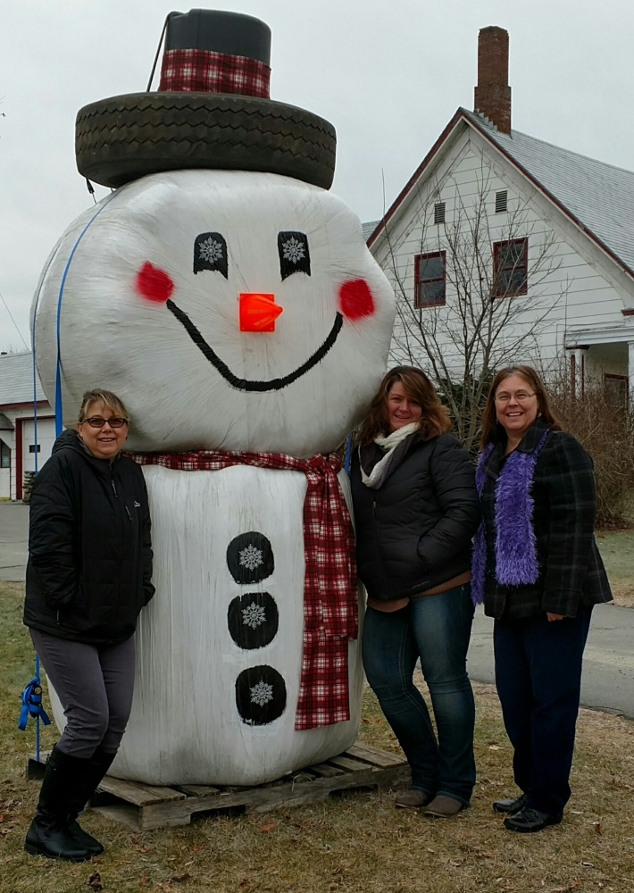 Anson Town Office staff with Magic, from left, are Nancy Gove, town bookkeeper, Tammy Murray town administrator, and Maddy Pierce, deputy tax collector.