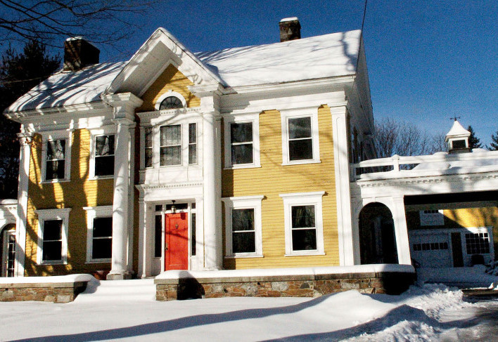 This 13-room Greek Revival home and land at 400 Water St. in Skowhegan, owned recently by attorney Dale Thistle, will be put up for auction Wednesday.