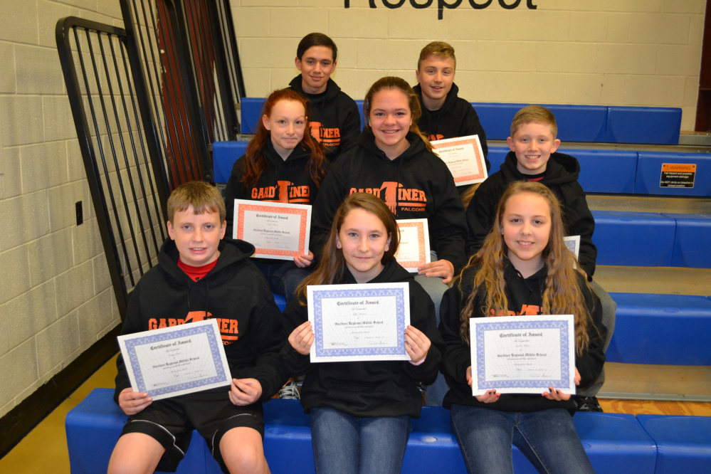 In front, from left, are sixth graders Casey Paul, Lilly Diversi and Amber White. Middle row, from left, are seventh graders Emily Folsom, Ava Goraj and Frank Albert. In back, from left, are eighth graders Marc Belanger and Isaac Gammon.