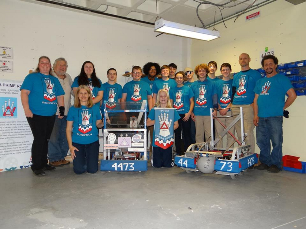 Hall-Dale High School's REM Delta Prime Robotics team, front, from left, are Sara Hodgkins and Eli Spahn. Back, from left, are Karen Giles, Mike Dunn, Hazel Houghton, Steven McCollett, Michael Crochere, Josh Noriega, Tyler Ussery, Neil Stottler, Anna Schaab, Kieran Dionne, William Fahy, Ben Hodgkins, Mac Creamer, Roy Stottler and Roger Pare. Missing from the photo are Ean Smith, Pierce Smith and Ethan Williams.
