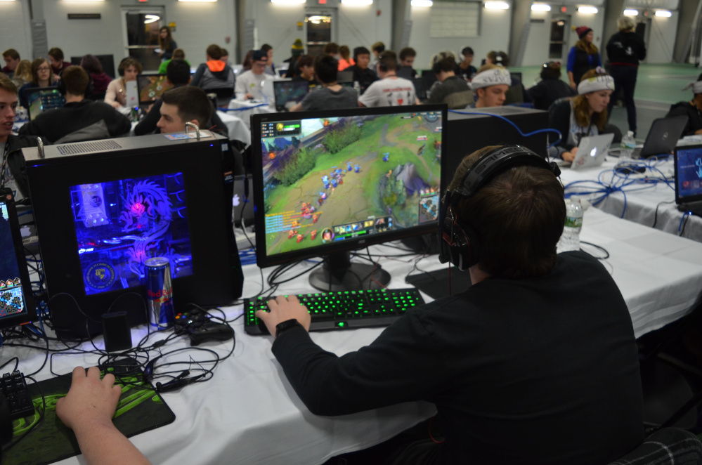 Almost 200 high school and homeschool students, which made up 41 teams, from all over Maine, attended the Thomas Cup IT and gaming competition Dec. 2-3 in the Alfond Athletic Center on the Waterville campus. More than 40 Thomas College students helped to put on the competition.
