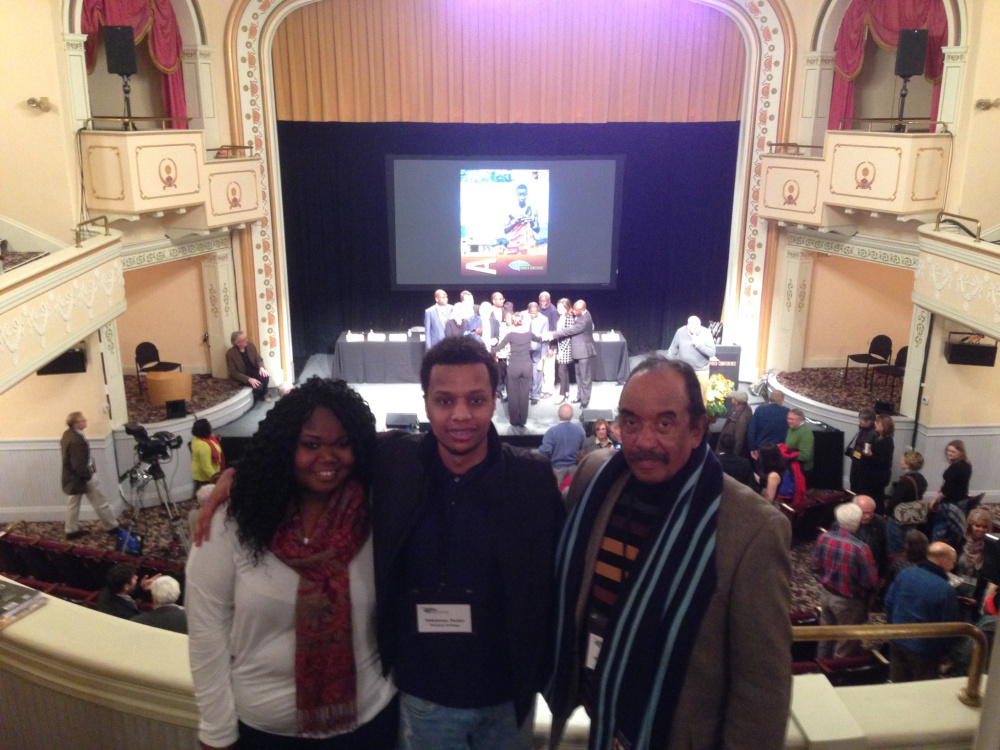 From left, Viola Ogak, Yohannes Tesfai, and Dr. Richard Biffle at last year's Camden Conference.