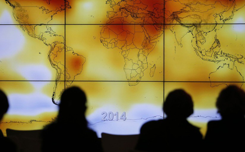 A world map showing climate anomalies is presented at the 2015 Paris climate change conference.