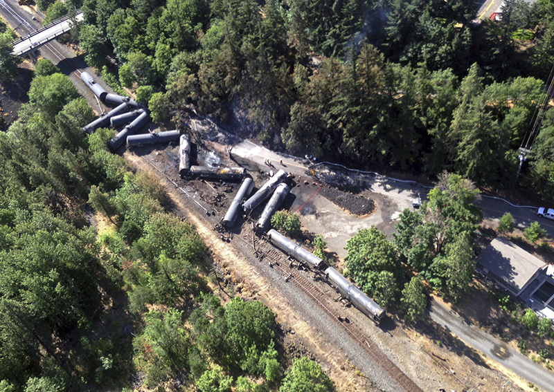 Scattered and burned oil tank cars after a train derailed near Mosier, Ore. in June of 2016.