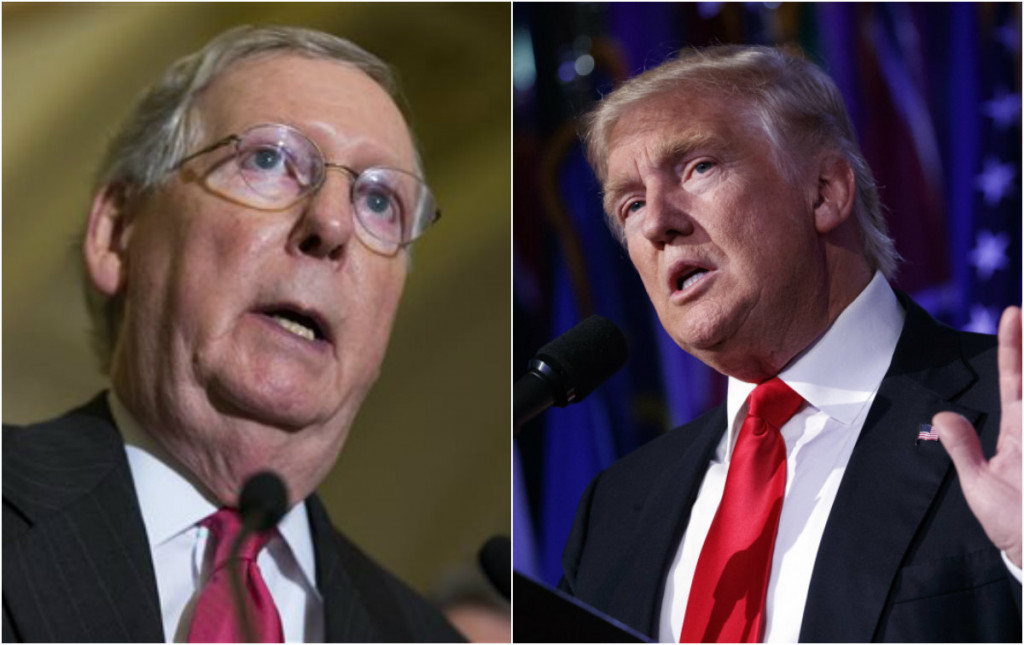 """Majority Leader Mitch McConnell, left, told reporters that an inquiry into Russian hacking would be conducted by the Senate intelligence panel. President-elect Donald Trump, right, calls the recent CIA assertion that Russian hacking had sought to help his candidacy """"ridiculous."""""""