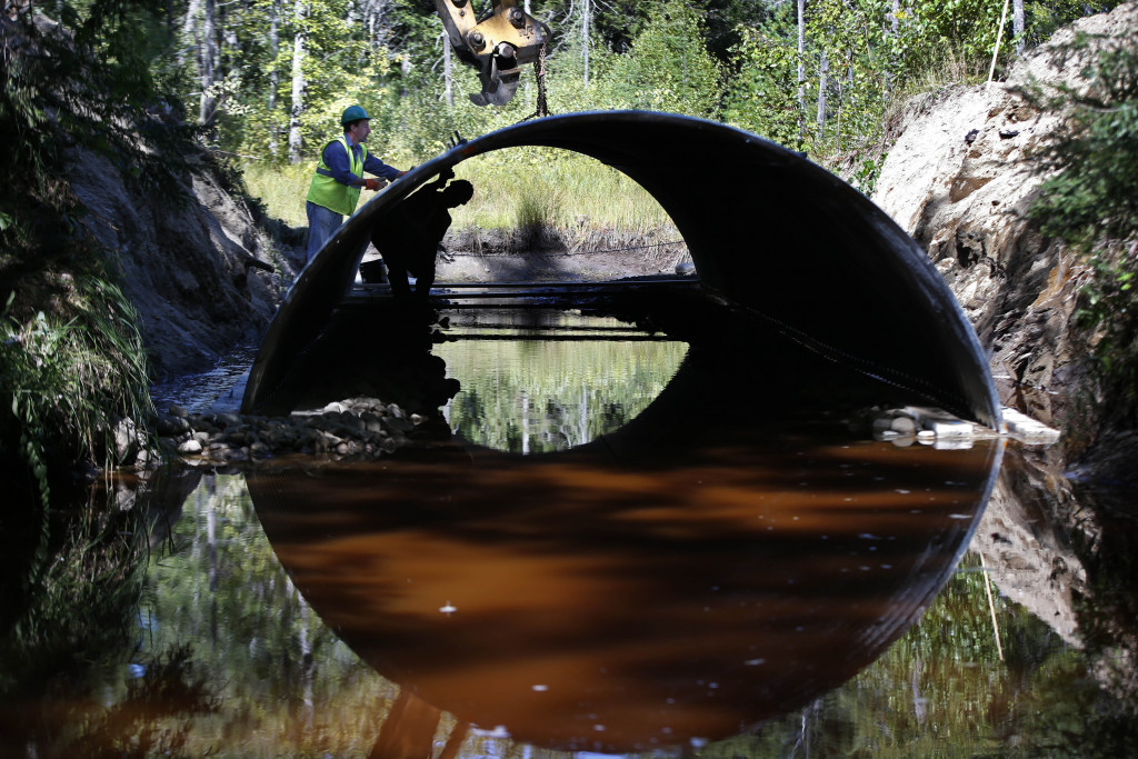 A bottomless arch culvert is installed in Passadumkeag. These are designed to withstand the impacts of severe storms, allowing fish habitat to stay open.