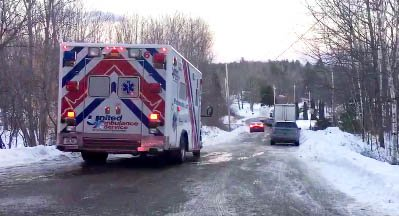 Emergency vehicles converge in Sabbatus, where Maine State Police have blocked off East Ridge Road because of a standoff Wednesday.