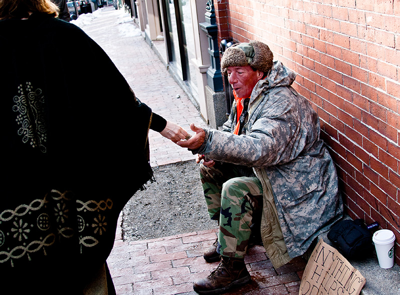 Ray Richard who was a chatty, friendly panhandler seen here in 2013 outside of Starbucks on Exchange Street.