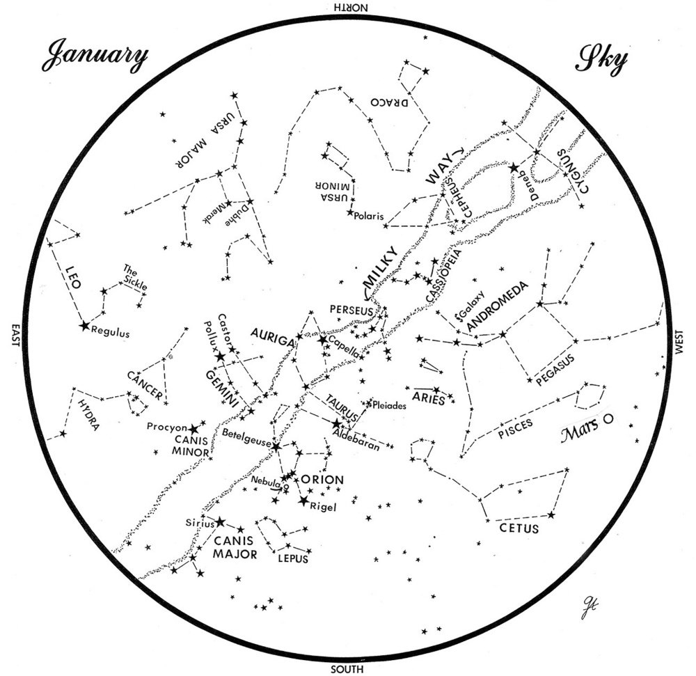 SKY GUIDE: This chart represents the sky over Maine during January. The stars are shown as they appear at 9:30 p.m. early in the month, at 8:30 p.m. at midmonth and at 7:30 p.m. at month's end. Mars is shown in its midmonth position. To use the map, hold it vertically and turn it so the direction you are facing is at the bottom.