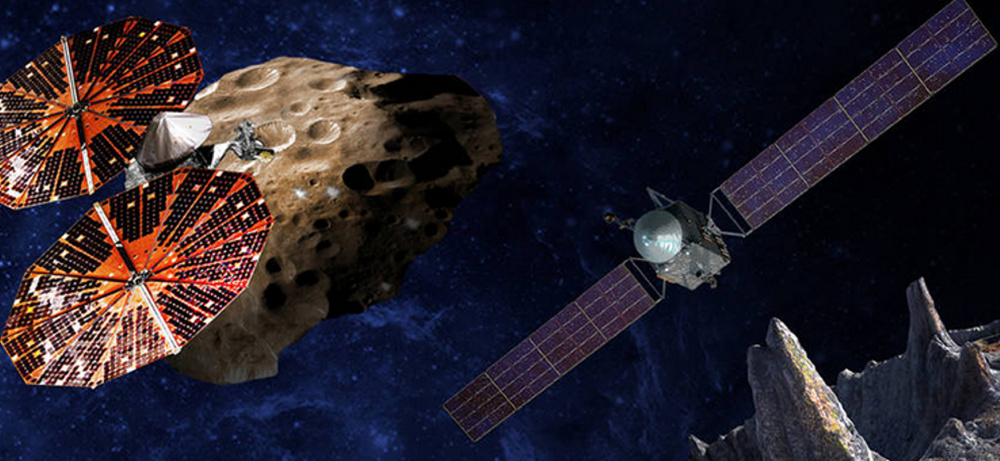 An artist's conception shows the Lucy spacecraft, left, which will be sent near Jupiter, and the Psyche orbiter, which will study what is thought to be the iron core of a protoplanet.