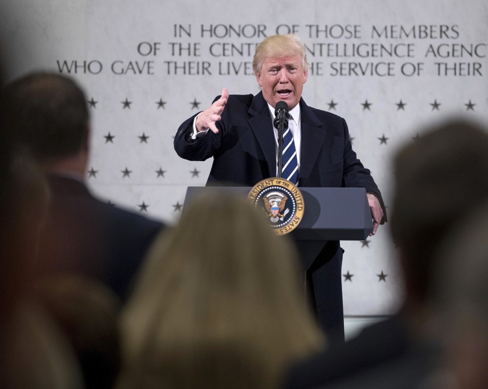 President Trump speaks at the CIA in Langley, Va., on Saturday.