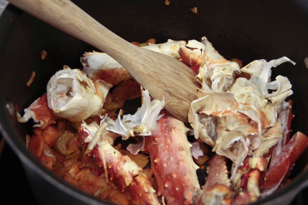 Shells being prepared for a crab bisque.