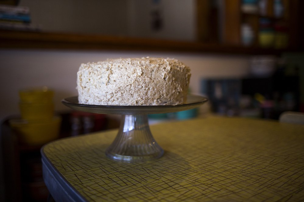 Press Herald writer Gillian Graham paired two recipes from her yard-sale finds to create this cake for her father-in-law's birthday.
