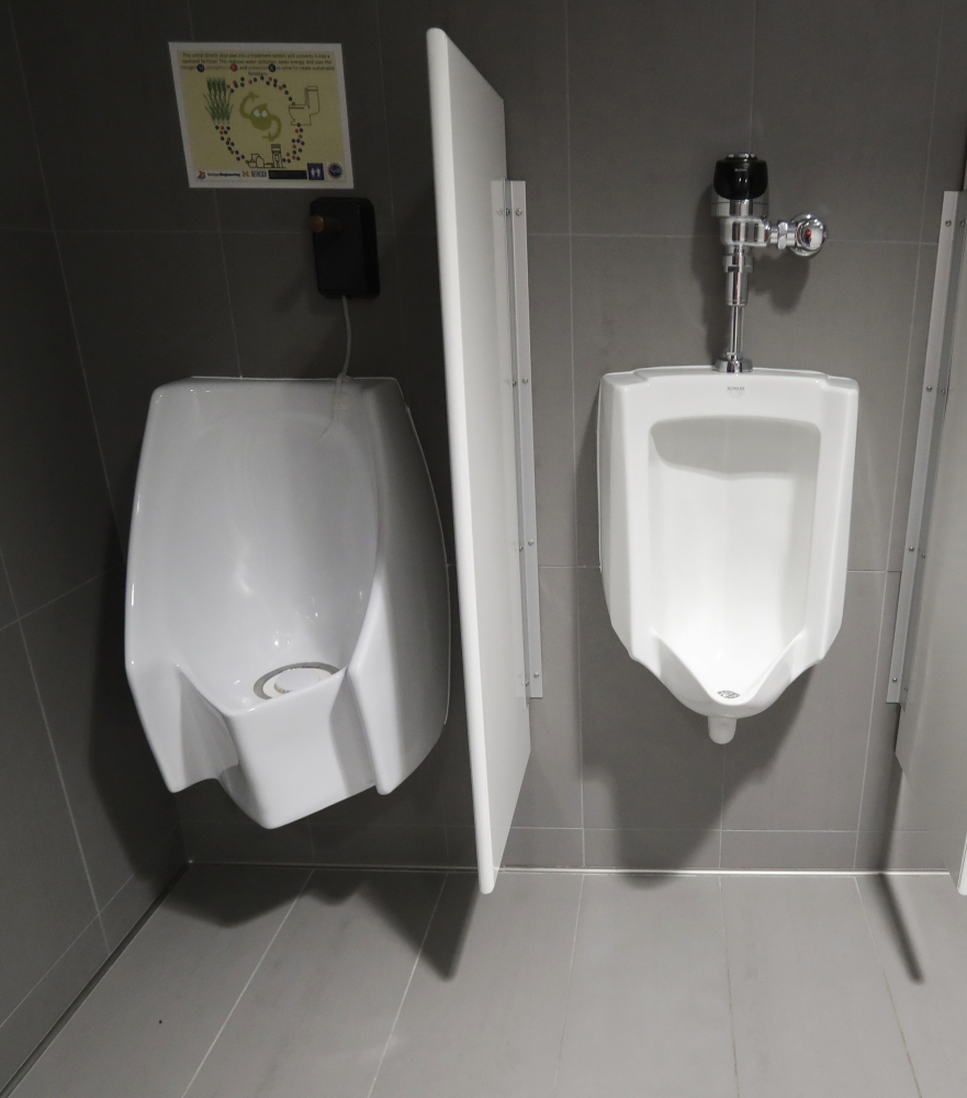 The University of Michigan in Ann Arbor offers both a waterless urinal, left, and a standard urinal.