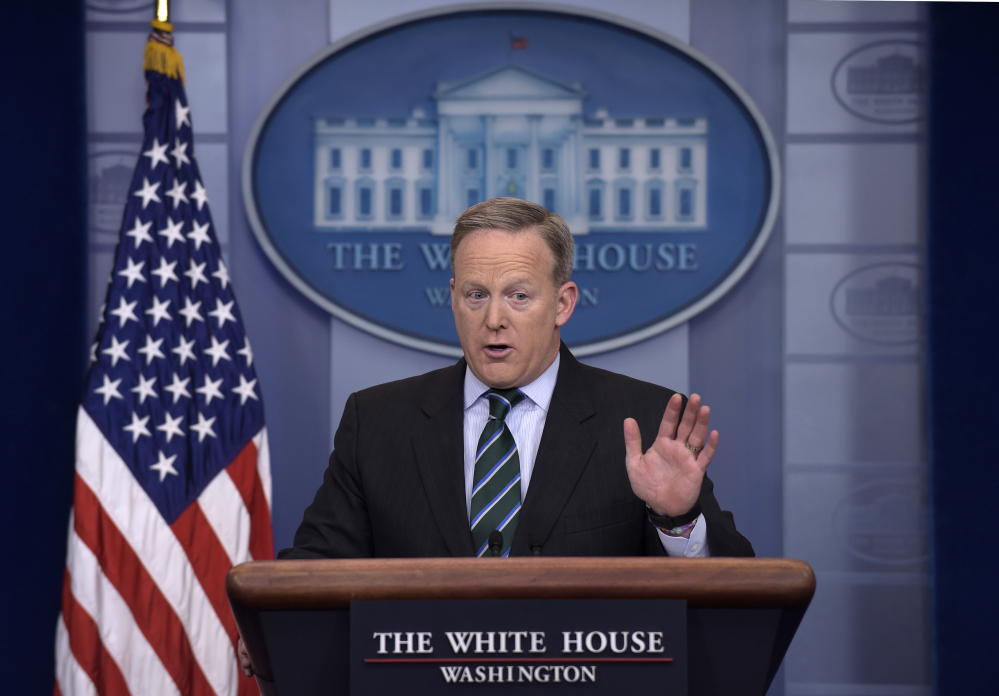 """White House press secretary Sean Spicer said of the draft order on reviewing the U.S. war on terror: """"It is not a White House document. I have no idea where it came from."""""""