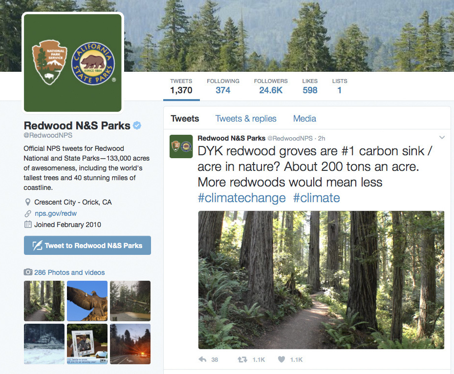 A Twitter post from the National Park Service's Redwoods National Park account about climate change. The National Park Service employees' Twitter campaign against President Donald Trump has spread to other parks.