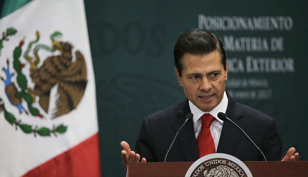 Mexico's President Enrique Pena Nieto, shown speaking in Mexico City on Monday, tweeted Thursday that he won't attend a meeting with President Trump.