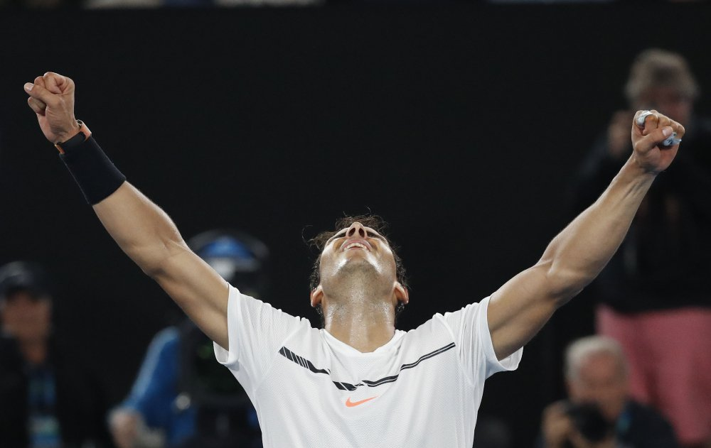 Rafael Nadal celebrates after defeating Grigor Dimitrov in their semifinal at the Australian Open in Melbourne, Australia.