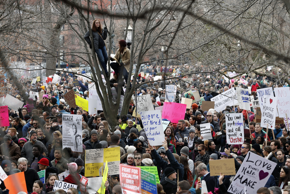 Hundreds gather to protest in Lafayette Park near the White House on Sunday.