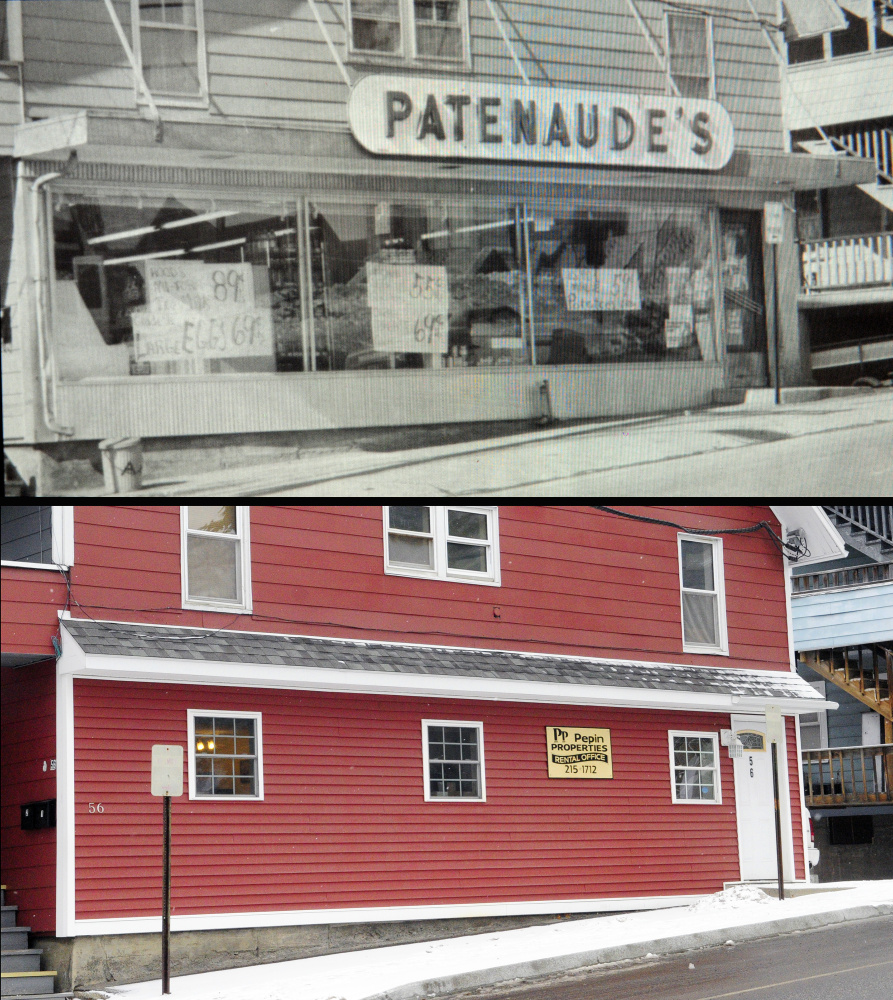 This split photo shows an image of Patenaude's Superette, at top, as seen in Norm Rodrigue's