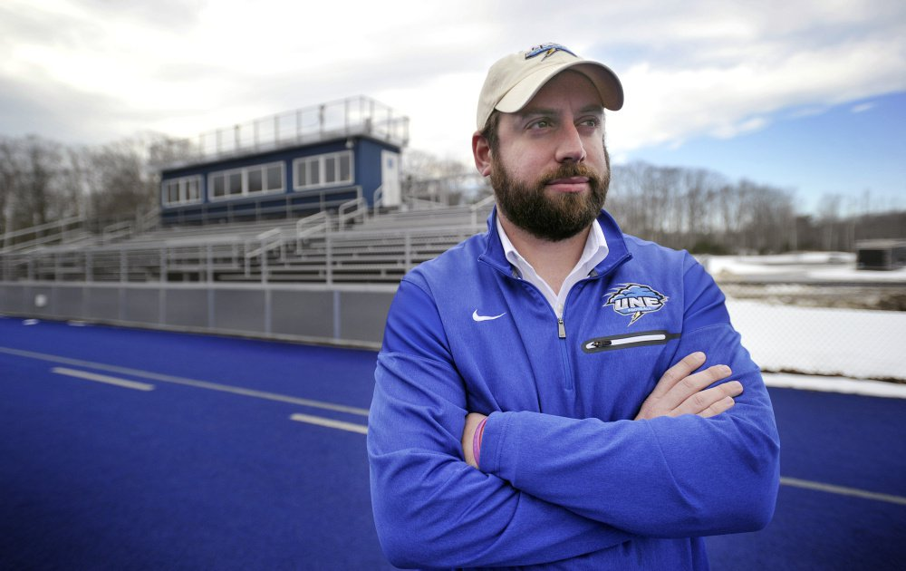 University of New England football coach Mike Lichten, tasked with building a program from the ground up, is spending much of his time on the road, trying to convince players to a join a team that will play its first-ever game in September.