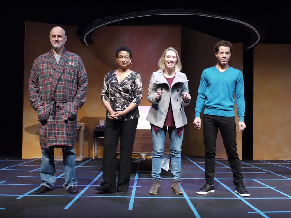 "Doug Rees as Lou Ziegler, Melissa Maxwell as Marlene Hayes, Annie Grier as Raina Lamott and Jon Hudson Odom as Jarrell Hayes in ""Under the Skin."""