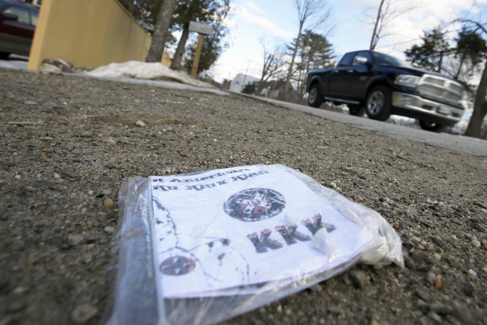 About two dozen Ku Klux Klan fliers – folded into sandwich bags and weighted with pebbles – were found Monday by residents in South Freeport.