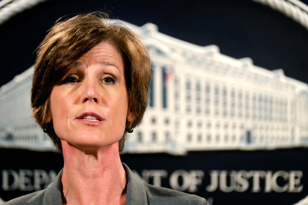 Deputy Attorney General Sally Yates was fired after she ordered Justice Department lawyers not to defend Trump's immigration order temporarily banning entry into the United States for citizens of seven Muslim-majority countries. Yates questioned its legality.